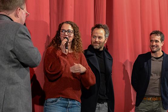 """Filmgespräch im Rio Filmpalast in München über """"Nicht schon wieder Rudi!"""" mit dem Produktionsteam. Von links: Oona-Devi Liebich, Ismail Sahin, Holger Sorg."""