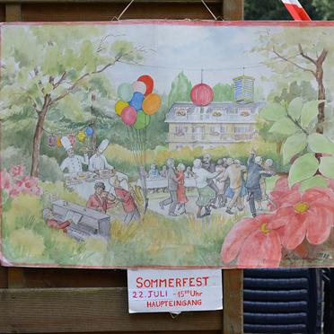 Sommerfest im Parkstift Aeskulap zum 50sten Geburtstag von KWA: das Bild hat Bewohnerin Eleonore Middelmann gemalt