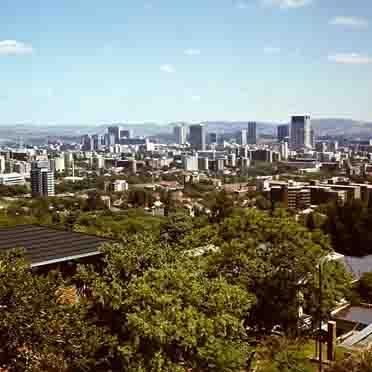 Sicht vom Voortrekkerdenkmal auf Pretoria (Ende 1980)