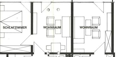 Wohnungsgrundriss im Georg-Brauchle-Haus - aus der ersten Hausbroschüre