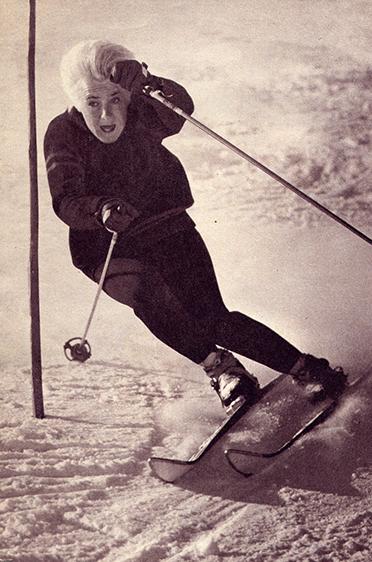 Heidi Biebl bei einem Trainingslauf im Jahr 1962.