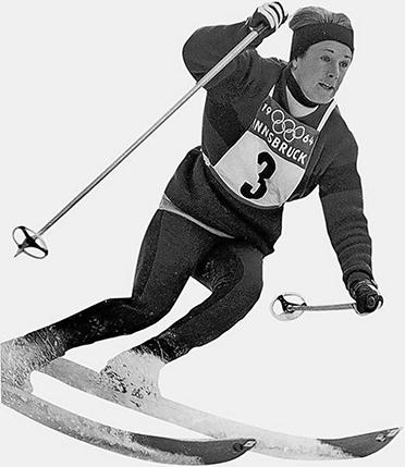 Heidi Biebl 1964 bei der Olympiade in Innsbruck. Hier erzielte sie zwei undankbare 4. Plätze: in der Abfahrt und im Slalom.