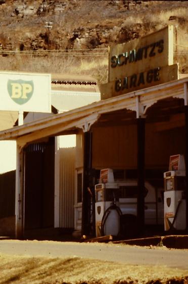 Tankstelle in Pilgrim's Rest, einem historischen Goldgräberstädtchen