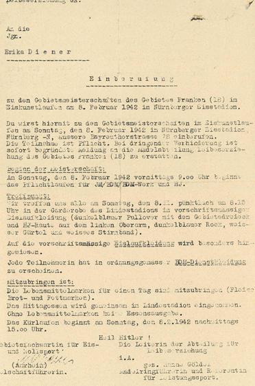 Einberufung zu den Gebietsmeisterschaften Franken 1942