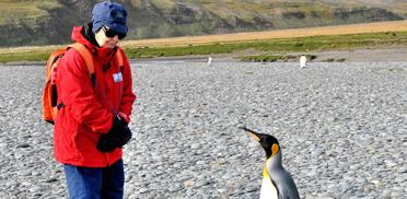 Ulrike Walk mit Königspinguin in der Antarktis, 2011
