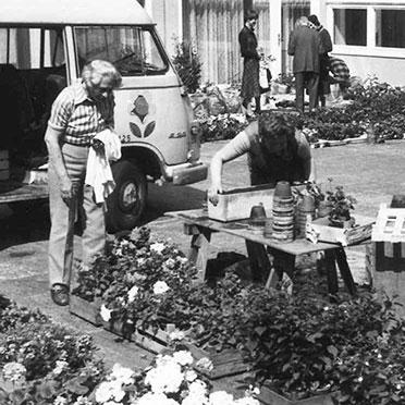 Geranienmarkt im Hahnhof im Mai 1978