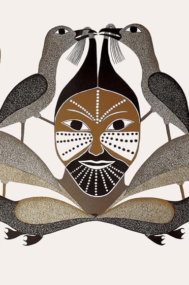 """Bild der Künstlerin Kenojuak """"Amongst the Birds"""""""