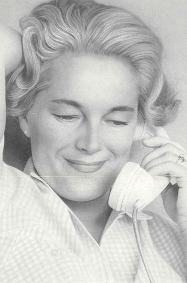 Elga Thouret als Werbeikone in den Vereinigten Staaten: mit einer ganzseitigen Anzeige von Bell Telephone System, im Rahmen einer Anzeigenkampagne