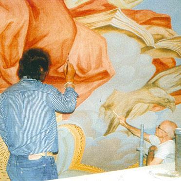 Probemalerei an der Innenkuppel (Juni 2002)