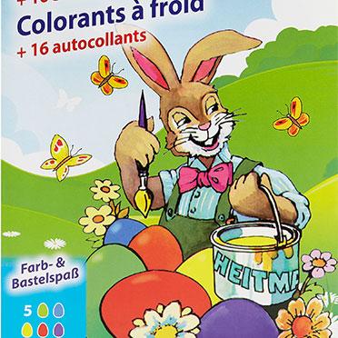 Ostereier-Kaltfarben: Die Packung im Nostalgie-Look spricht heute wie früher sowohl Kinder als auch Erwachsene an.