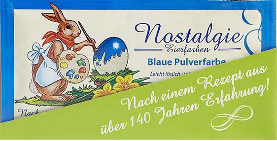 Nostalgie Eierfarben als Pulverfarben, erhältlich als Sortiment mit den Farben: maisgelb, maigrün, rot und blau.