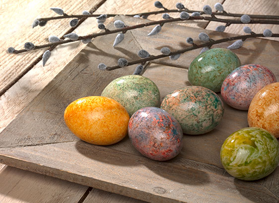 """""""Glanz-Marmorierung"""": Natürlich wirkende Farbnuancen, erreicht man mit den Marmorierfarben. Einfetten entfällt, da die Eier schon von selbst glänzen."""
