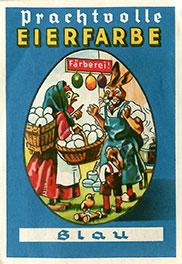 """Originalpackung von anno dazumal – """"Prachtvolle Eierfarbe""""."""